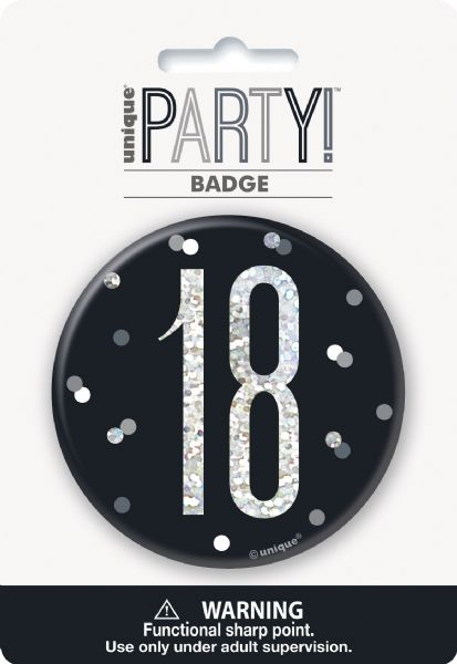 Glitz Black Age 18 Badge